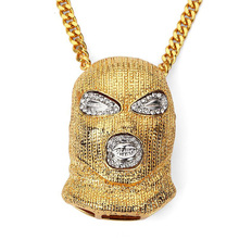 Against Terrorism Headgear Gold Pendant With Rhinestone Cuban Chain Necklace New Fashion Men or Women Super Hip Hop Jewelry