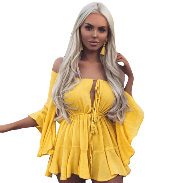 6125edbd7dcf NLW Women Red Chiffon Rompers Off Shoulder Yellow Playsuits Summer Blue  Backless Sexy Jumpsuit Flare Sleeve