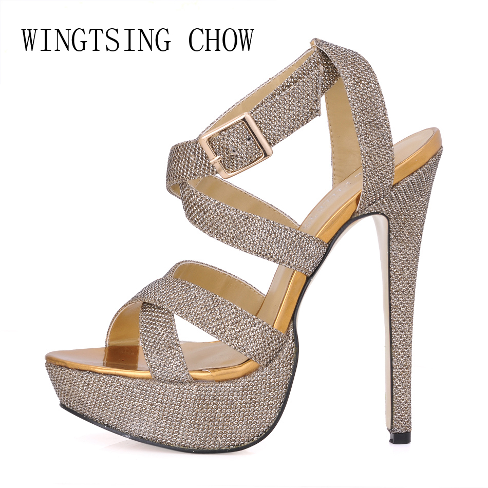 2016 New Gold Glitter Nice Sexy Party Shoes Women Stiletto High Heels Ankle Strap Platform Ladies Sandal Zapatos Mujer 3463SL-A4 spring autumn gold women pumps sexy ankle strap ladies shoes big size 33 45 super high 12 cm platform high heels zapatos mujer