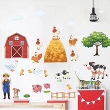 Наклейки на стену с изображением животных из мультфильма «Ферма»