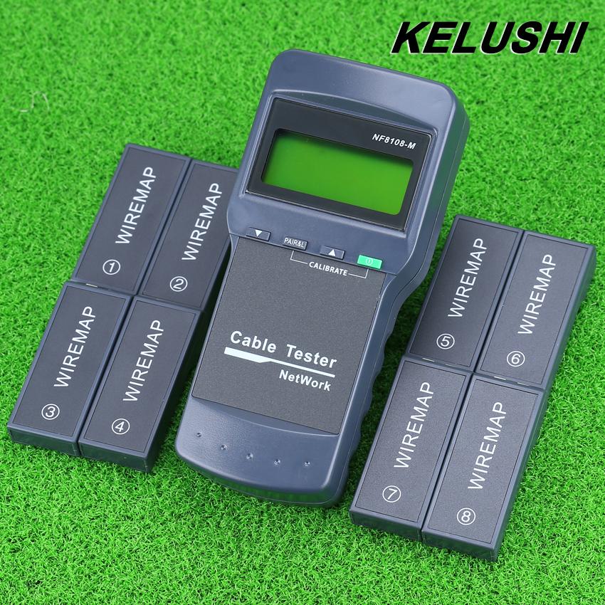 Prix pour KELUSHI Multifonction Réseau LAN Téléphone Cable Tester Compteur Cat5 RJ45 Mapper 8 pc Beaucoup Test Jack Anglais fonctionnement rapide gratuite