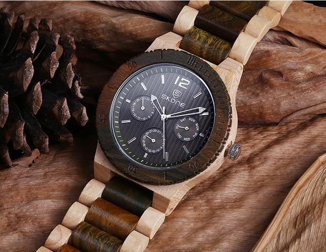Zegarek drewniany męski SKONE 3 kolory
