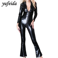 Women Bodycon Bell Bottom Long Pants Trousers Clubwear Party Overalls Jumpsuits Rompers Black PU Sexy Lingerie Underwear