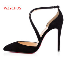 WZYCHDS Top Quality Summer Women Shoes Red Bottom High Heels Sexy Pointed Toe Red Sole Wedding Shoes Escarpins Semelle 302-12