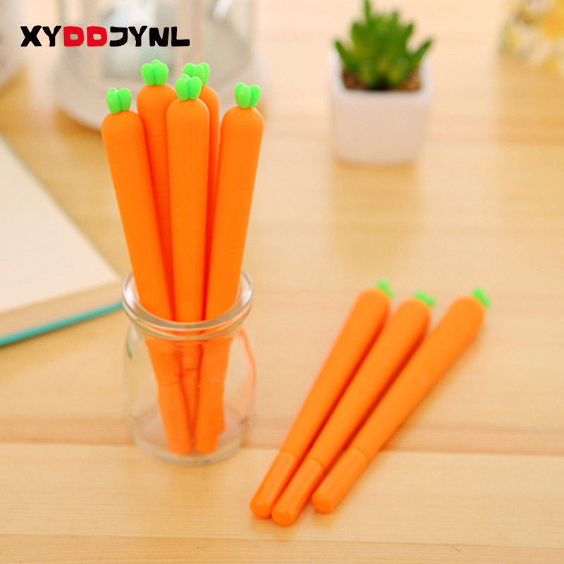 2pc/lot Student Creative Carrot Modeling Gel Pen 0.5mm Black Ink Personality Promotional Signature Pen for Kids Funny Gift