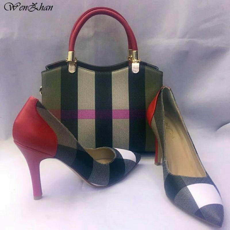 Wenzhan مخطط نمط المرأة مضخات الأحذية مباراة المرأة الناعمة حقيبة مجموعات ، امرأة أشار تو فاخر مصمم الأحذية مع حقيبة A83 14-في أحذية نسائية من أحذية على  مجموعة 1