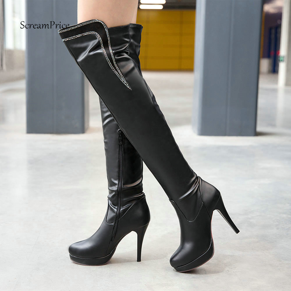 Women's Sexy Pu Over the Knee Boots Fashion Thin High Heel Thigh Boots Platform Zipper Winter Ladies Shoes White Black jialuowei women sexy fashion shoes lace up knee high thin high heel platform thigh high boots pointed stiletto zip leather boots