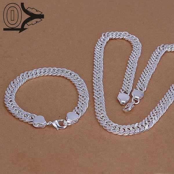 Wholesale Silver Plated Jewelry Set,Cheap Bridal Party Sets,Mens 10M Whole Side Fashion Silver Necklace Bracelet Two pieces