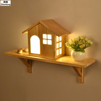 Nordic Creative House LED Solid Wood Wall Lamp Small Home Shelf Indoor Mounted Light for Bedside Bedroom Aisle Lights Children's