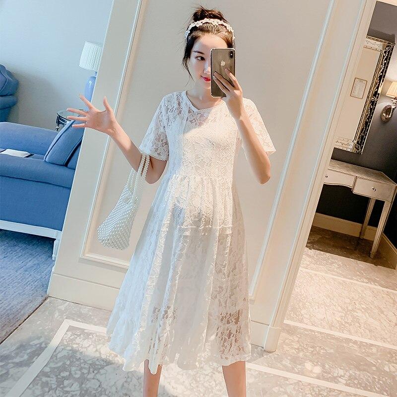 182 # белое кружевное длинное платье для беременных летняя корейская модная одежда для беременных женщин элегантное облегающее ТРАПЕЦИЕВИДН...