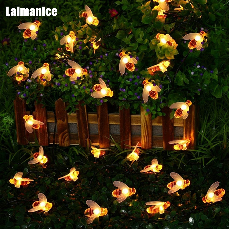 Laimanice Hot New 20 30led Solar Honey Bee String Fairy Lights Outdoor Garden Summer Waterproof Patio Christmas Garland Light Wide Selection; Lights & Lighting