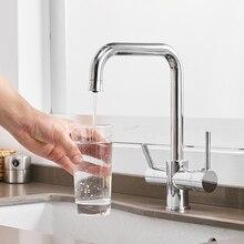 Grifo de cocina con filtro de agua, grifos de doble curva de ángulo recto, grifo de agua potable hecho en latón