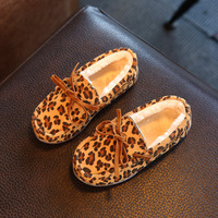 Children Shoes Girls Shoe Winter 2017 Fashion Leopard Warm Plush Toddler Baby Moccasins Casual Kids Shoes