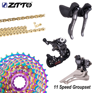 ZTTO 11 Speed Shifter Groupset 11s 28T Sivler/Rainbow k7 Road Bike Group Set Shifter Rear Derailleur HG 11V hubbody compatible(China)