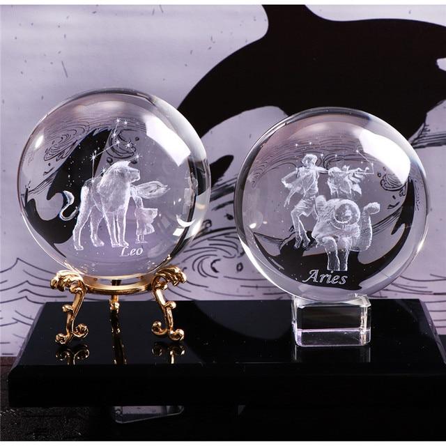 Signe du zodiaque gravé au Laser 80 MM | Boule de cristal Miniature 3D ornement de cristal artisanal, sphère de décoration de la maison, accessoires cadeau