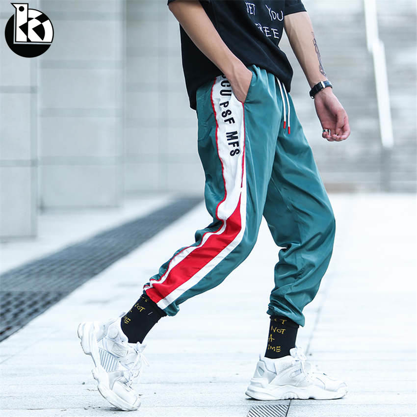 Able 2019 Spring New Loose Large Size Brand Men's Color Matching Trousers Men Fashion Casual Trend Letter Embroidery Mens Trousers