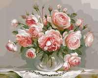 Frameless DIY Oil Painting Flowers Pink Canvas Acrylic Paint Wall Painting From The Digital Home Decoration