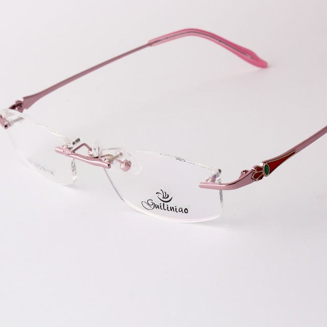 Chashma Brand Rimless Eye Glasses Women Pink Glasses Prescription