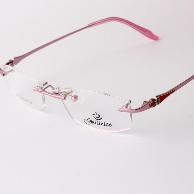Sin montura gafas mujeres rosadas gafas gafas graduadas marco