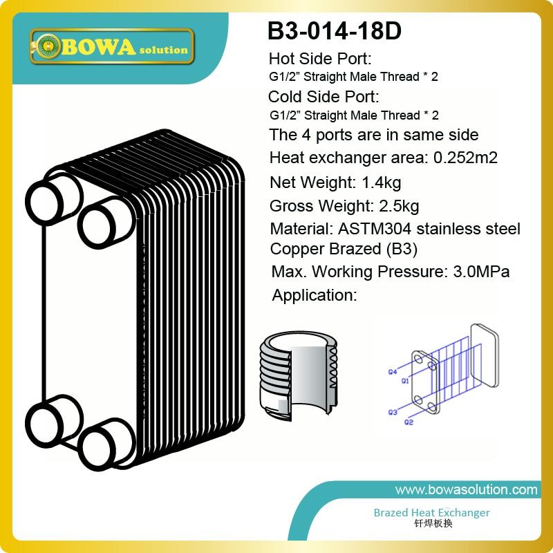 2.5KW (Água para a água) De Cobre Soldadas Trocador de Calor de placas de Aço Inoxidável para aquecimento, refrigeração, recuperação de calor, evaporação