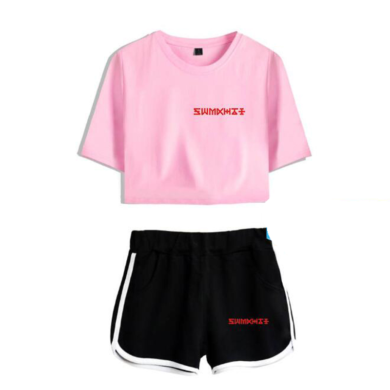 Women Two Piece Outfits Korean KPOP Monsta X 2 Piece Set Crop Top and Short Pants Tracksuit For Women Sets Sportsuit Clothes