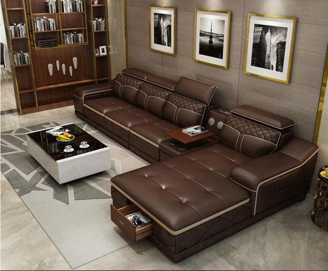 Tan Leather Living Room SofaFurniture Set  2