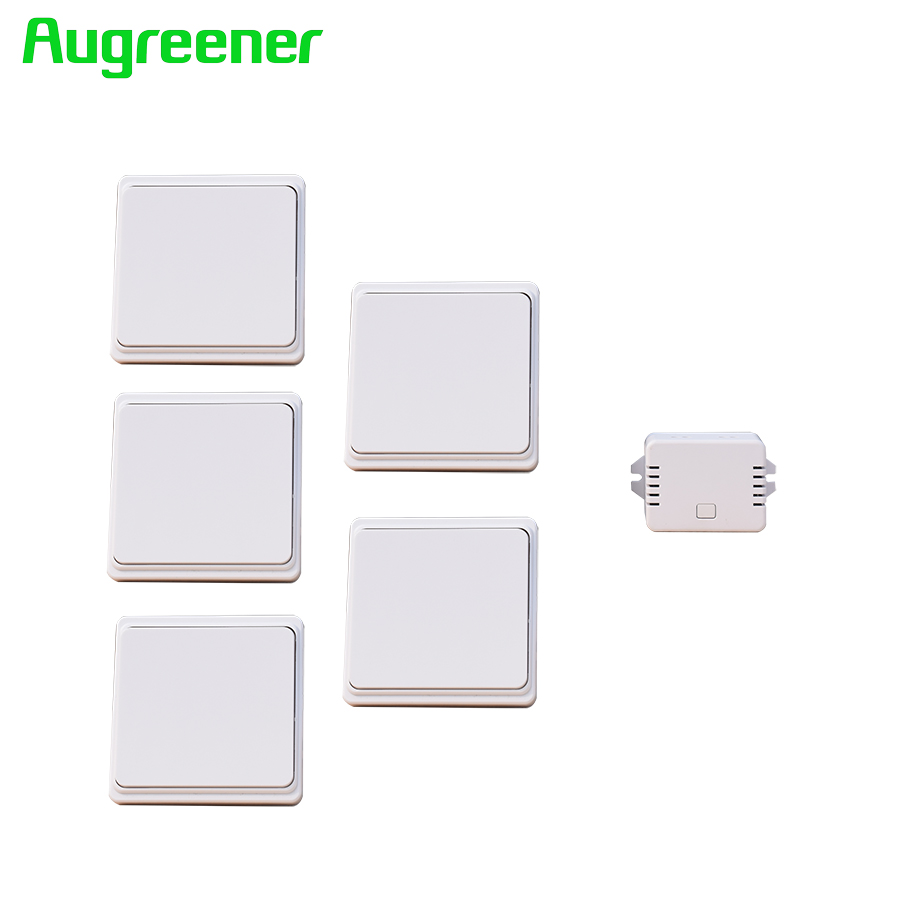 Augreener new 5 buttons + 1 receiver wireless switch remote control wall light switch free shipping self powered switch