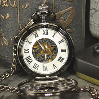 TIEDAN Black Antique Luxury Brand Steampunk Necklace Pocket Fob Watches Chain Male Clock Skeleton Mechanical Pocket