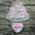 2016 baby girl outfits conjuntos de roupas de bebê menina infantil menina rosa conjuntos de renda balanço balanço tops outfits conjunto bloomer balanço balanço vestido