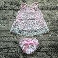 2016 niña trajes ropa del bebé establece bebé niña rosa encaje de columpios conjunto bloomer oscilación oscilación tops trajes vestido del oscilación