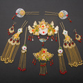Handmade Chinese Ancient Wedding Jewelry Set Bride Headwear Gold Plated White Jade Coronet Red Crystal Hair Accessories Earrings