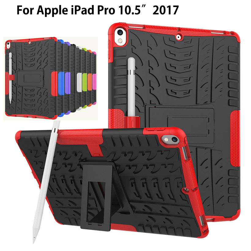 Case For new iPad Pro 10.5 2017 A1701 Cover Heavy Duty 2 in 1 Hybrid Rugged Durable Shockproof Rubber Funda Tablet Shell+stylus new tablet case for apple ipad pro 10 5 inch a1701 a1709 deethx heavy duty shockproof hybrid rubber rugged hard safe cover case