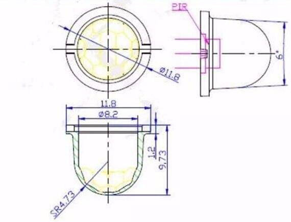 CHI-8308-3 высококачественные линзы Френеля, угол чувствительности 120, полиэтиленовые материалы, диаметр 11,8 мм, фокусное расстояние 5 мм, расстояние 5 м