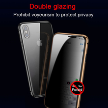 Metal Magnetic Adsorption Case For iPhone 11 pro Max XS MAX XR 6 8 7 Plus Anti-peep Tempered Glass Privacy Protection Screen Cove Funda