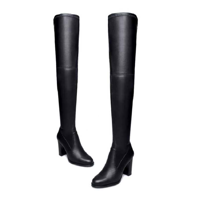 2017 autumn and winter new high-heeled knee boots leather elastic with female boots цены онлайн