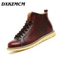 DXKZMCM 2017 Handmade Genuine Leather Men Autumn Winter Boots Autumn Winter Men Boots