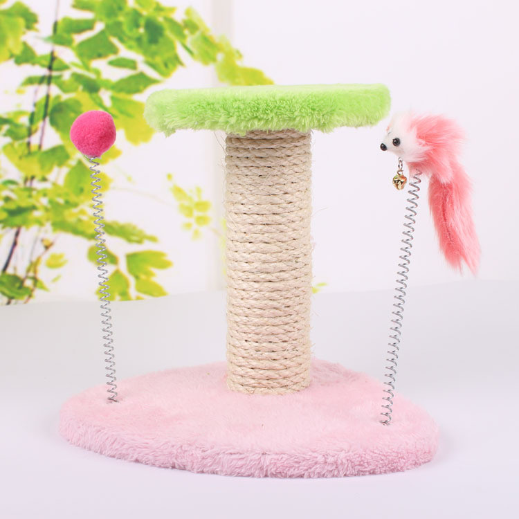 Spring Double-Deck Funny Cat Toy Pet Cat Scratch Board High Quality Plush With Mouse Toy Free Shipping Pet Supplies PE83