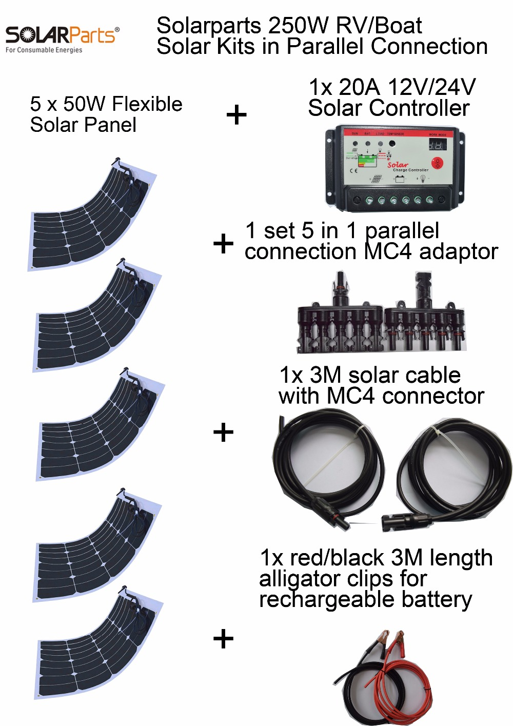 BOGUANG 250W 20V efficient solar Kits system 5pcs 50W flexible solar panel 20A solar controller 1set 5 in 1 connector full cable energy efficient system for solar panel