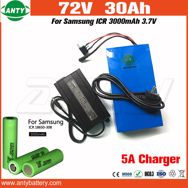 Lithium 72v 30Ah E-Scooter Battery 2800w for Samsung 18650 Cell with 84v 5A Charger 50A BMS E Bike Battery 72v Free Shipping 30a 3s polymer lithium battery cell charger protection board pcb 18650 li ion lithium battery charging module 12 8 16v