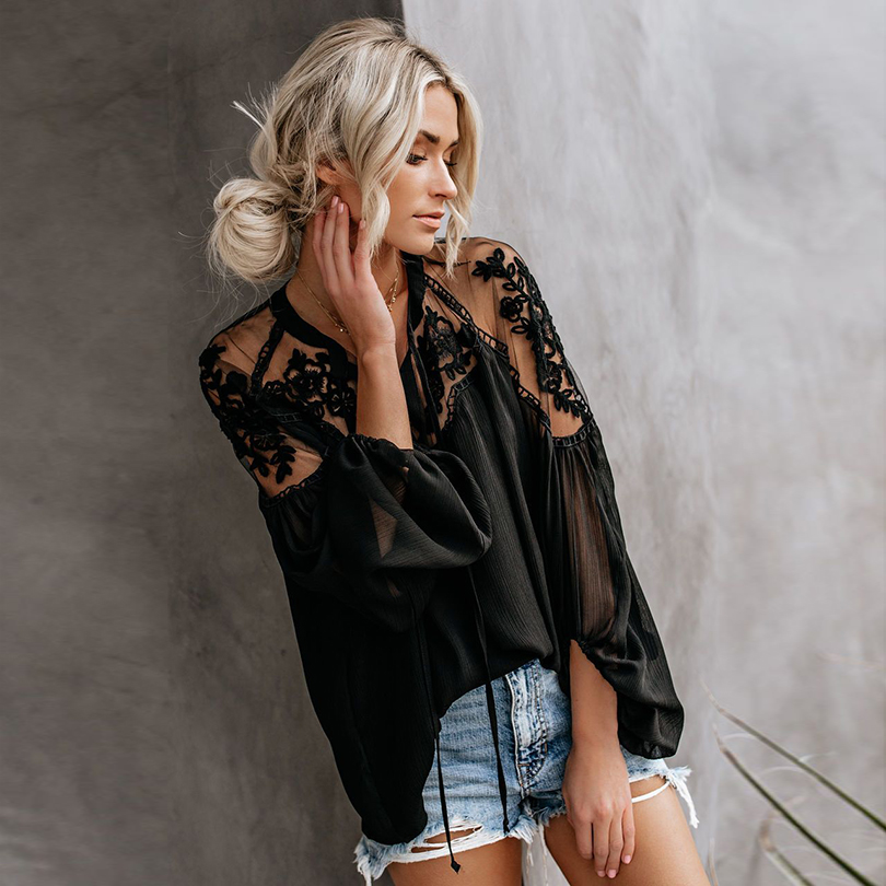 New Arrival Ladies Boho Mesh Lace Hook Flower Lantern Sleeve Loose Short Chiffon   Blouse     Shirts   Women Fashion Casual   Blouses