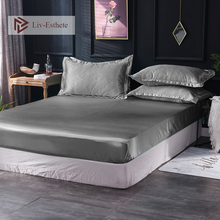 Liv-Esthete 1pcs Luxury 100% Silk Silver Grey Fitted Sheet Silky Elastic Ban Mattress Cover Queen King Bed Sheets For Women Men luxury crate mattress dog bed in pewter bones grey