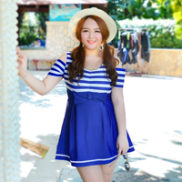 Navy Striped One Piece Swimming Suit For Women 2016 New Arrival Skirted Bathing Suit Swimdress Plus