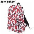 Jom tokoy Women Canvas Backpack Coke Cup Printing Girls School Backbag Mochila Feminina Shoulder Bag