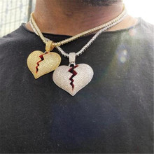 Hip Hop Bling Iced Out Tennnis Chain Zircon Copper Full Rhinestone Rope Chain Broken Heart Pendant & Necklace For Men Jewelry rhinestone heart faux leather rope necklace