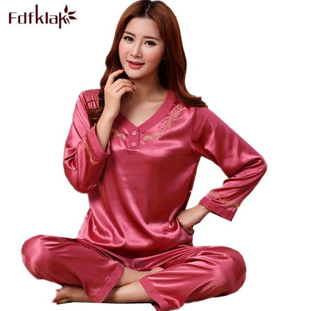 3f1a4c0b71 Fdfklak High Quality Silk Pajamas Women Long Sleeve V-neck Sleepwear Plus  Size Pyjamas Set Ladies Tracksuit Nightwear Pijamas