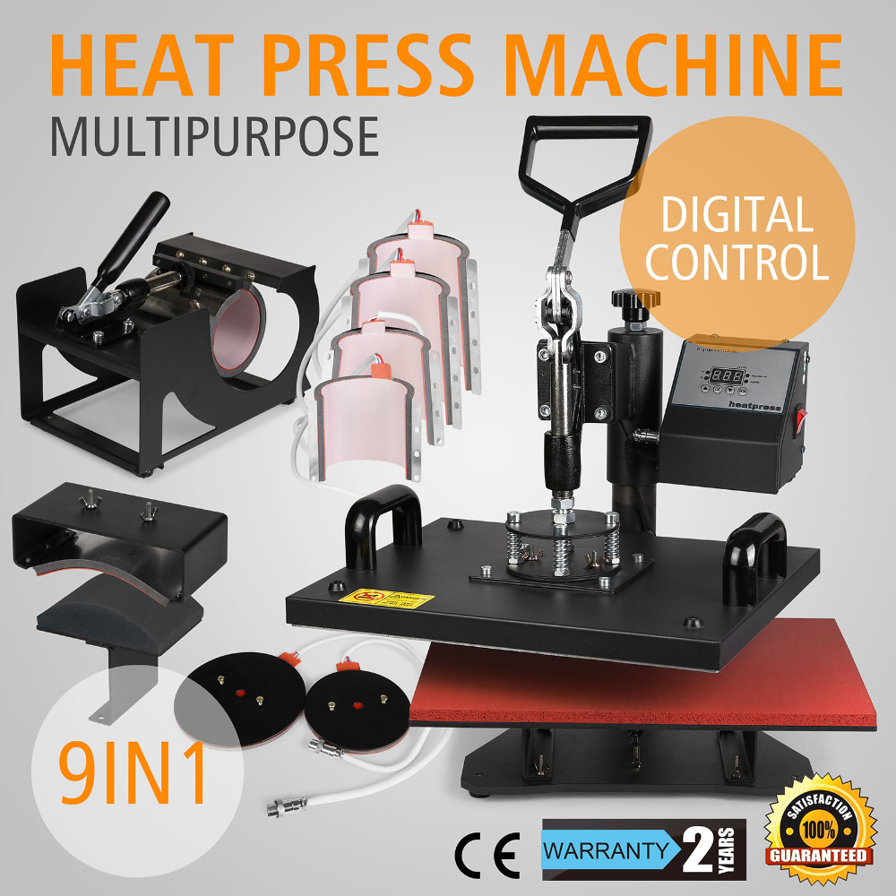 Wholesales Digital 9 In 1 Clamshell 12'' X 15'' Heat Press Transfer Sublimation Machine For T-shirt