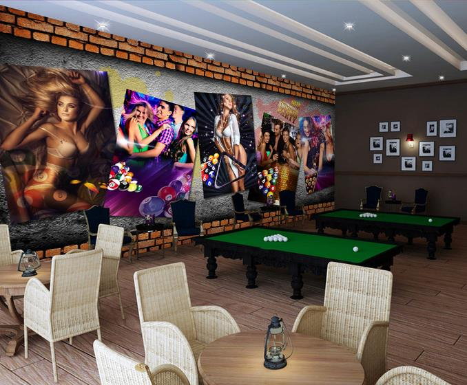 Custom 3d photo wallpaper 3d wall mural wallpaper the billiard table tennis ventricular sense beauty background wall brick wall