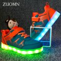 New Kids Shoes Rodinha Basket LED Kids Light Up Shoes for Children Glowing Sneakers with wheels Led zapatillas con luz led GH376