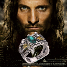 Aragorn Ring Of Barahir Vintage Retro Antique Silver Green Crystal Fashion Hot New Movie Film Jewelry For Men Women Wholesale