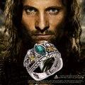 Anel de Aragorn de Barahir prata antigo retro vintage cristal verde para homens e mulheres por atacado